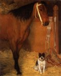 edgar degas at the stables horse and dog painting-35188