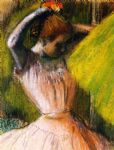 ballet acrylic paintings - ballet corps member fixing her hair by edgar degas