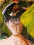 ballet original paintings - ballet corps member fixing her hair by edgar degas