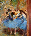 edgar degas dancers in blue painting