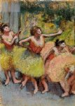 edgar degas dancers in green and yellow painting