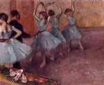 edgar degas dancers in light blue painting