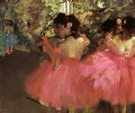 edgar degas dancers in pink painting
