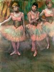 dance acrylic paintings - dancers wearing salmon coloured skirts by edgar degas