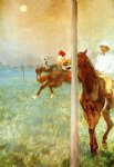 edgar degas jockeys before the start with flagpoll art