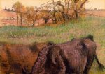 cow watercolor paintings - landscape cows in the foreground by edgar degas