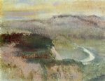 edgar degas watercolor paintings - landscape with hills by edgar degas