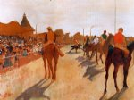 edgar degas racehorses before the stands painting