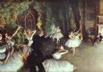 rehearsal on the stage by edgar degas watercolor paintings