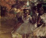three dancers behind the scenes by edgar degas painting