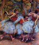 edgar degas three dancers blue skirts red blouses prints