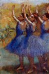 three dancers in purple skirts by edgar degas painting