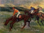 edgar degas three jockeys painting