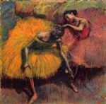 edgar degas two dancers in yellow and pink paintings
