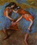 edgar degas two dancers with yellow corsages painting
