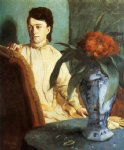 edgar degas woman with a vase of flowers painting 35575