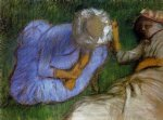 young women resting in a field by edgar degas painting