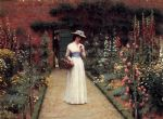 edmund blair leighton famous paintings - lady in a garden by edmund blair leighton