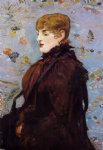 edouard manet autumn portait of mery laurent in a brown fur cape painting
