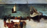 edouard manet berck seascape fishing boats and fishermen paintings