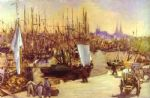 the harbour at bordeaux by edouard manet painting