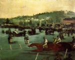 the races in the bois de boulogne by edouard manet painting