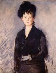 woman with a gold pin by edouard manet painting
