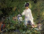 flower oil paintings - young woman among the flowers by edouard manet