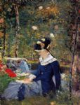 young woman in the garden by edouard manet painting