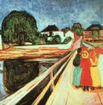 edvard munch watercolor paintings - girls on a bridge by edvard munch