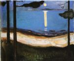 edvard munch watercolor paintings - moonlight by edvard munch