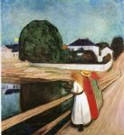 edvard munch watercolor paintings - the girls on the bridge by edvard munch
