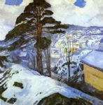 edvard munch watercolor paintings - winter kragero by edvard munch