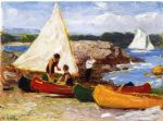 boat acrylic paintings - canoes and sailboats by edward henry potthast