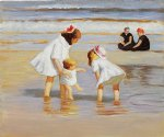edward henry potthast watercolor paintings - children playing at the seashore by edward henry potthast