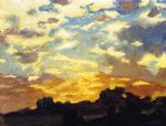 edward henry potthast watercolor paintings - golden sunset by edward henry potthast
