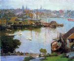 edward henry potthast watercolor paintings - harbor village by edward henry potthast