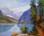 edward henry potthast watercolor paintings - lake louise british columbia by edward henry potthast