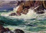 edward henry potthast watercolor paintings - stormy seas by edward henry potthast