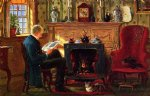 edward lamson henry examining illustrations by the fire paintings