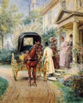 edward lamson henry acrylic paintings - mrs. lydig and her daughter greeting their guest by edward lamson henry