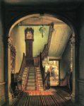 edward lamson henry acrylic paintings - the old clock on the stairs by edward lamson henry