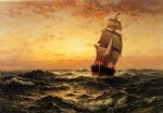 ship original paintings - ship at sea sunset by edward moran