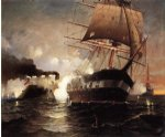 sinking of the cumberland by the merrimack by edward moran painting