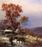 winter at the farm by edward moran painting