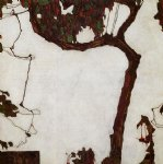 egon schiele autumn tree with fuchsias painting