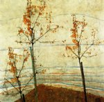 egon schiele autumn trees painting-34489