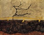 egon schiele bare tree behind a fence painting-77483