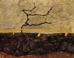 egon schiele bare tree behind a fence painting