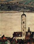 egon schiele church in stein on the danube painting